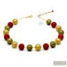 BALL SATIN ROUGE - COLLIER ROUGE EN VERITABLE VERRE DE MURANO