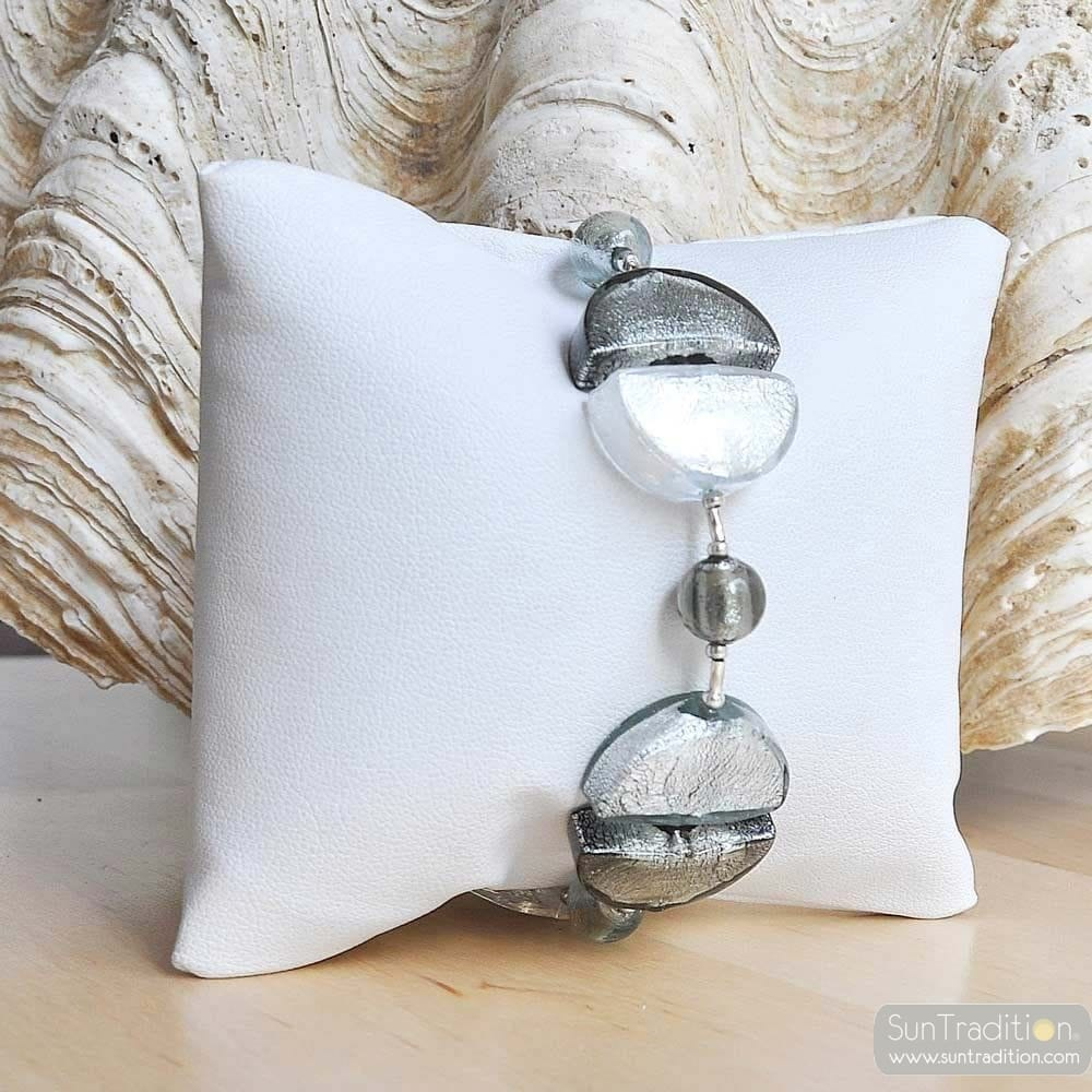 silver murano glass jewelry bracelet