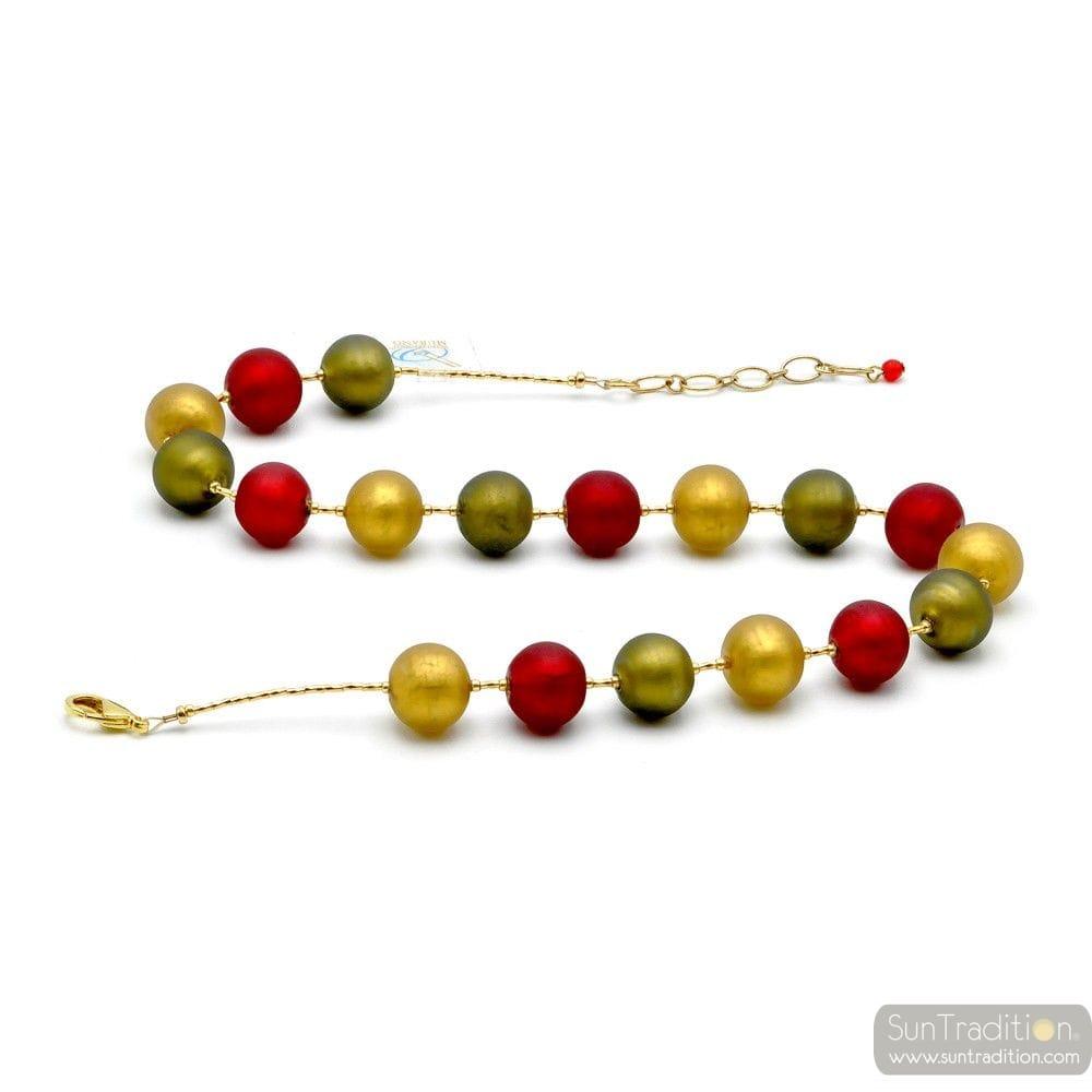 BALL SATIN - COLLAR RED GENUINE MURANO GLASS