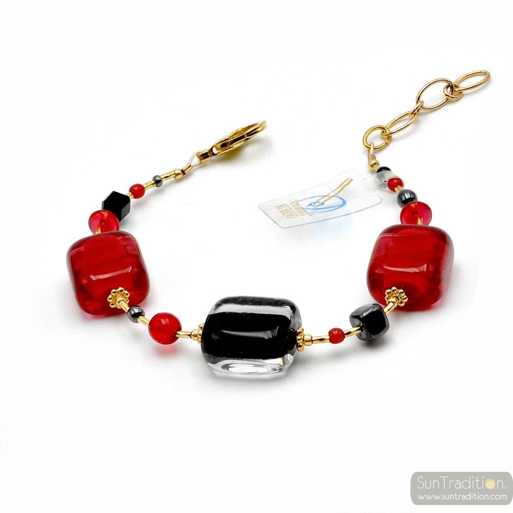 SCHISSA RED - RED AND BLACK MURANO GLASS BRACELET VENITIAN JEWEL