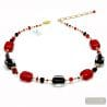 RED AND BLACK GENUINE MURANO GLASS NECKLACE