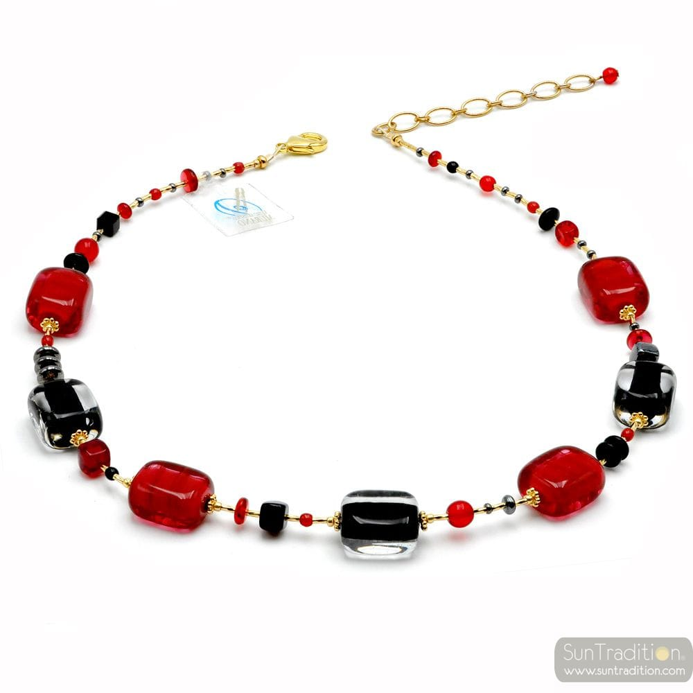 RED AND BLACK MURANO GLASS NECKLACE