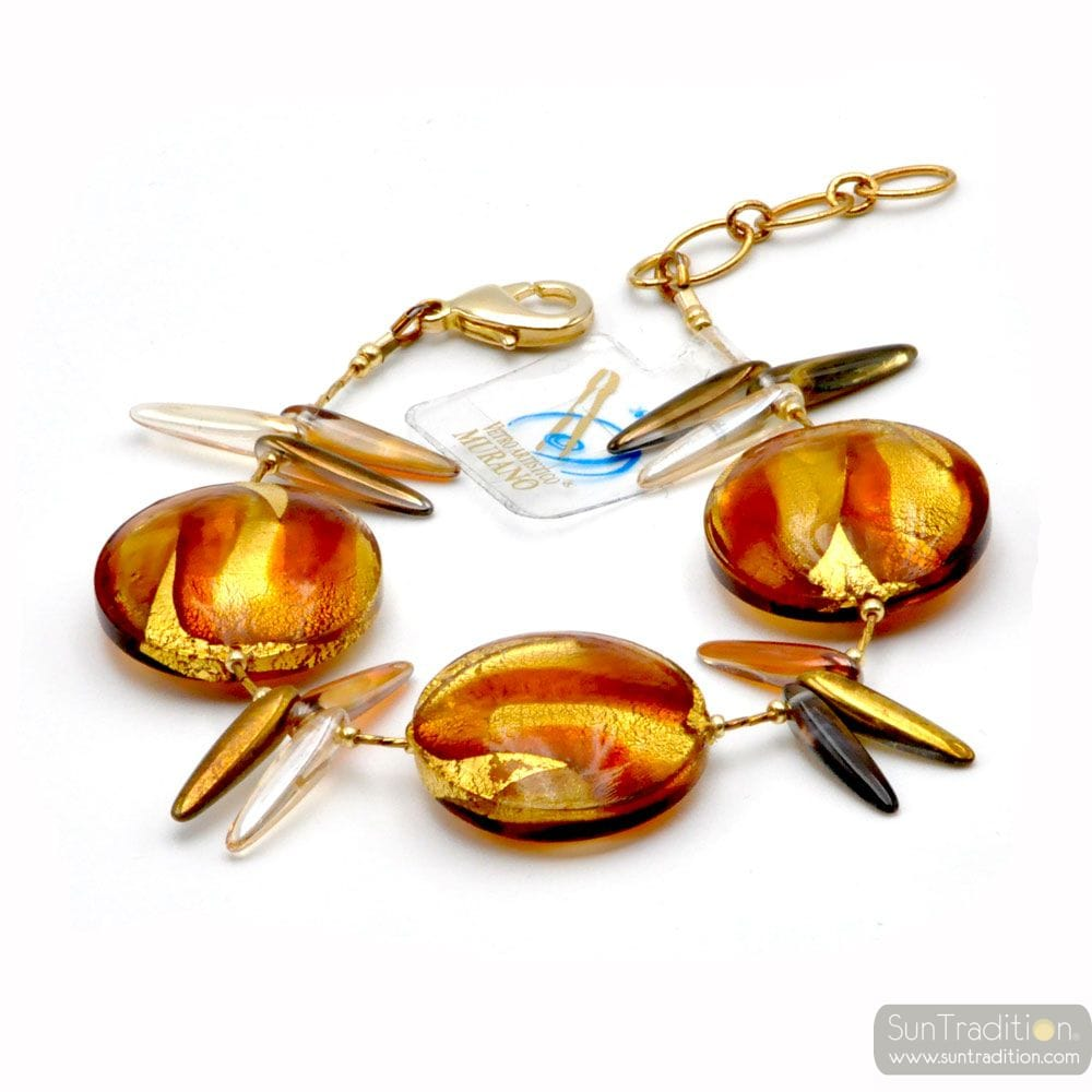 AMBER ARMBAND IN REAL-MURANO-GLAS