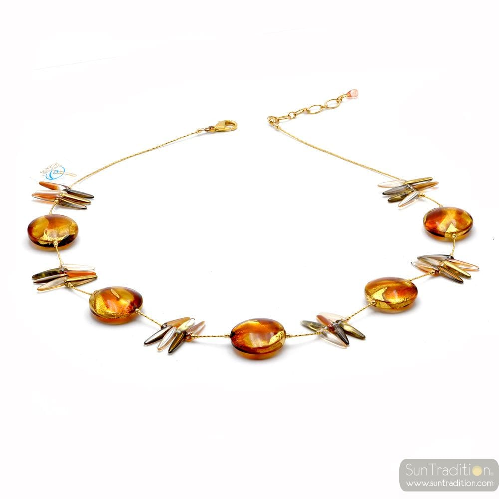 Albatross amber - Amber Murano glass necklace genuine venitian jewellry of Italy