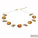 Albatross amber - Amber Murano glass necklace genuine venitian jewellry of Italy
