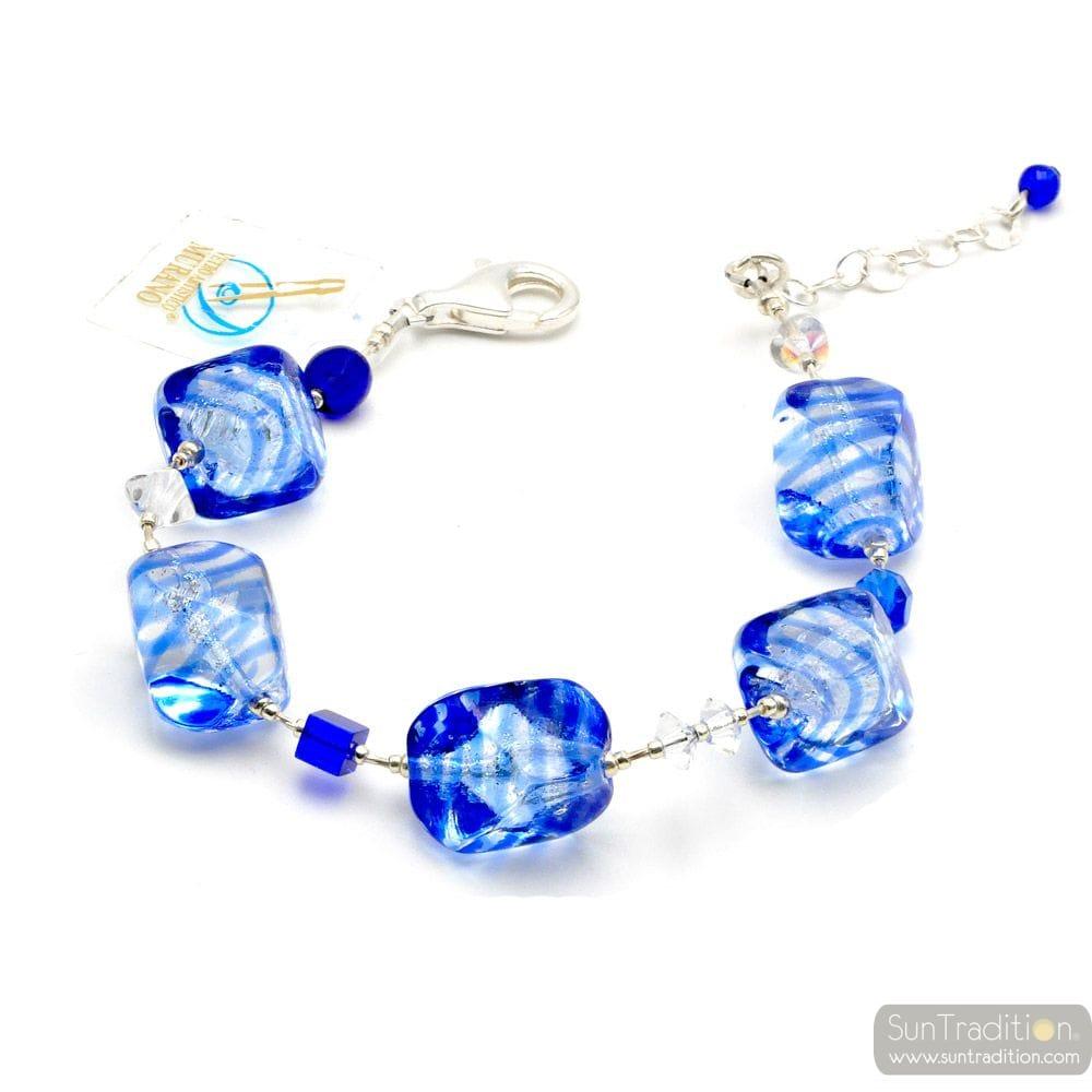 SASSO RIGADIN BLUE - BLUE MURANO GLASS BRACELET FROM VENICE