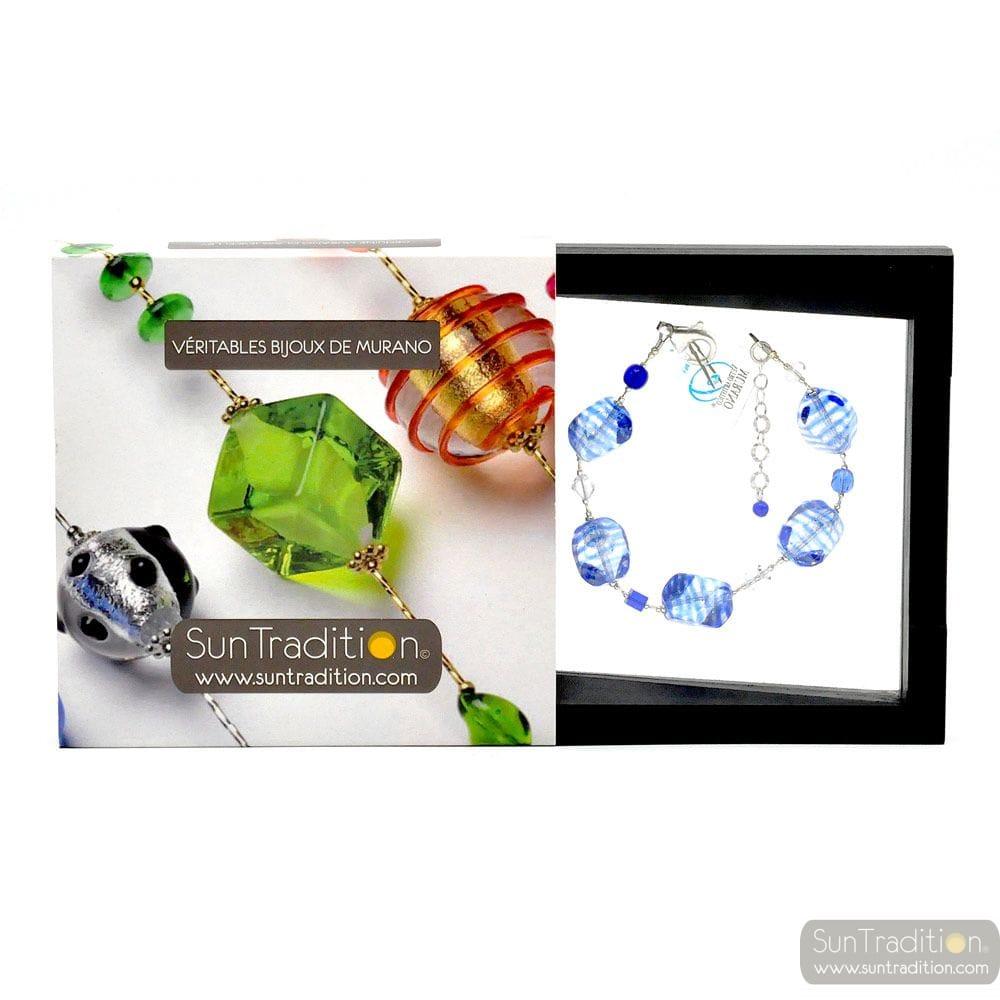 Sasso rigadin blue - Blue Murano glass bracelet genuine venitian jewellery Italy