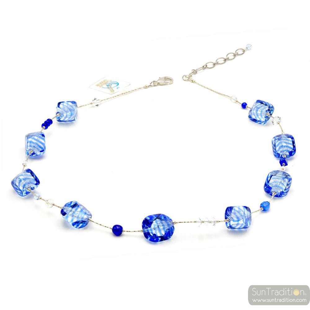 SASSO RIGADIN BLUE - BLUE MURANO GLASS NECKLACE VENICE