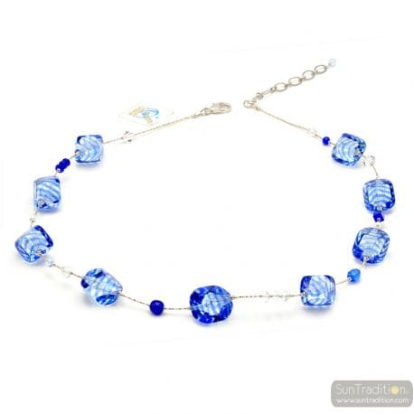 Blue Murano necklace real jewellery of Venice Italy
