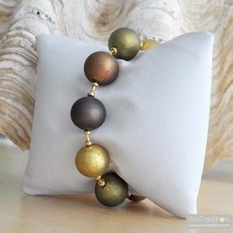 brown amber murano glass jewelry bracelet