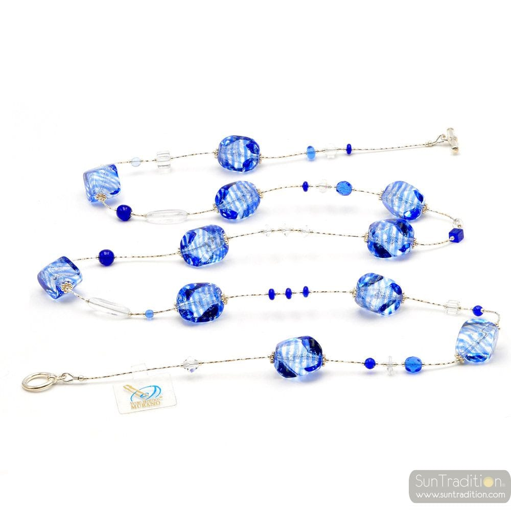 SASSO RIGADIN BLUE - COLLAR BLUE LONG GENUINE MURANO GLASS VENICE