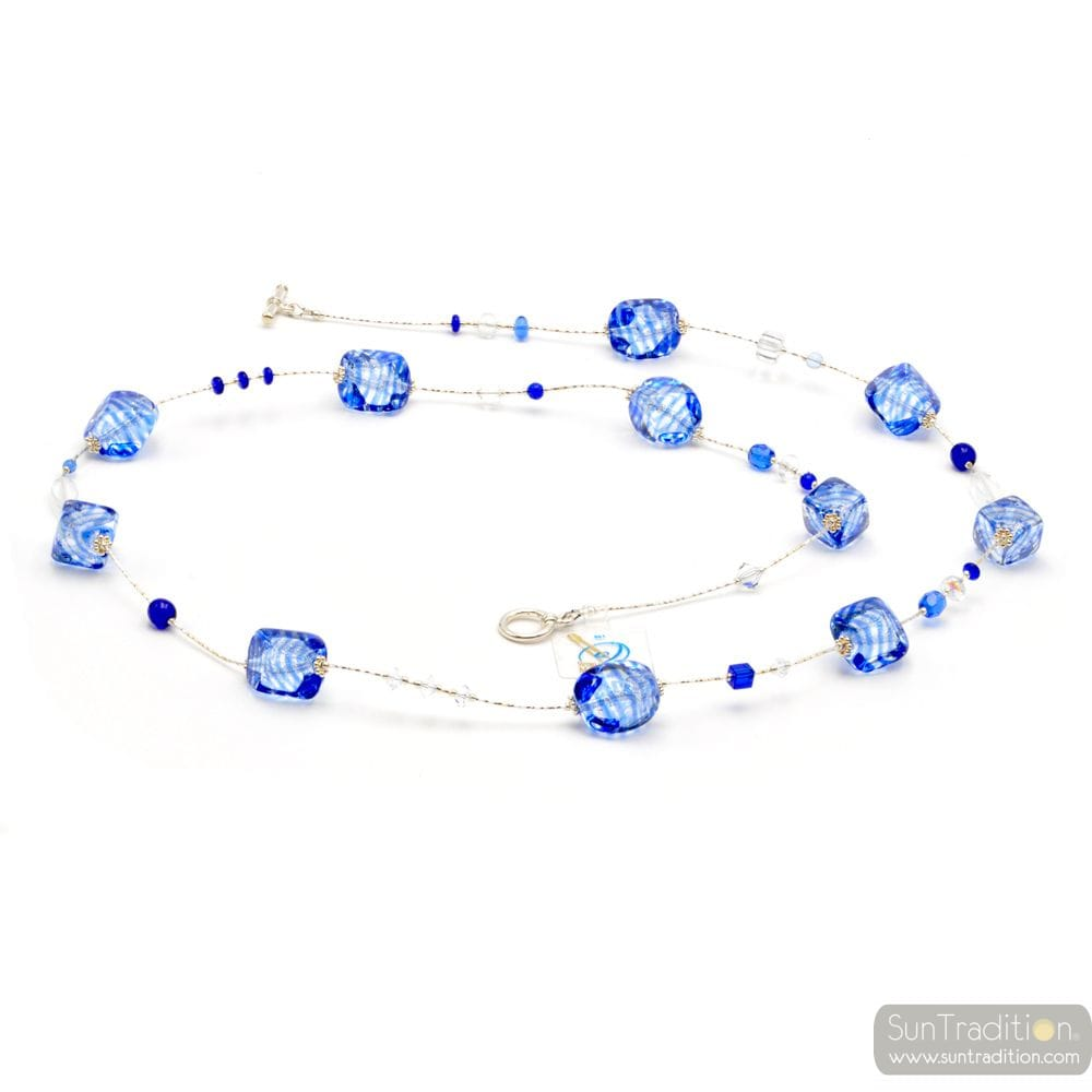 SASSO RIGADIN LONG BLUE - BLUE LONG MURANO GLASS NECKLACE VENICE