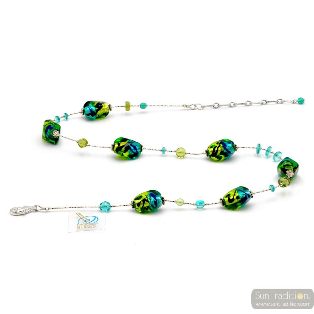 GREEN NECKLACE MURANO GLASS-GREEN AND BLUE