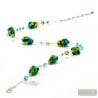 Green and blue Murano necklace real jewel of Venice Italy