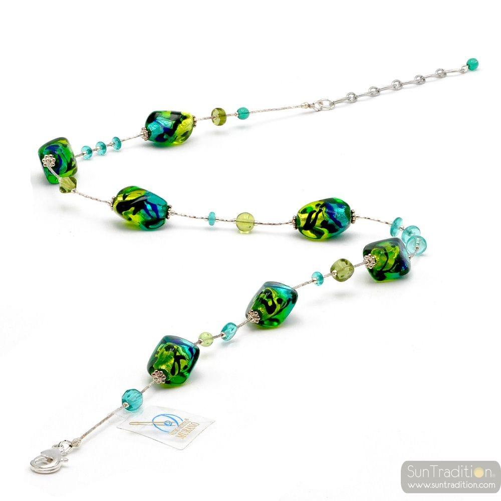 SASSO TWO-TONE GREEN - NECKLACE MURANO GLASS-GREEN AND BLUE