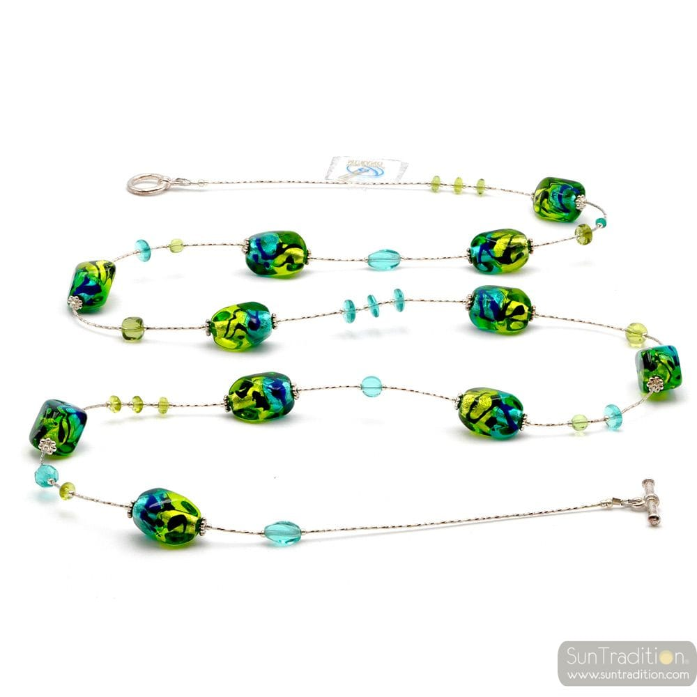 LONG NECKLACE, GREEN LONG MURANO GLASS GREEN AND BLUE