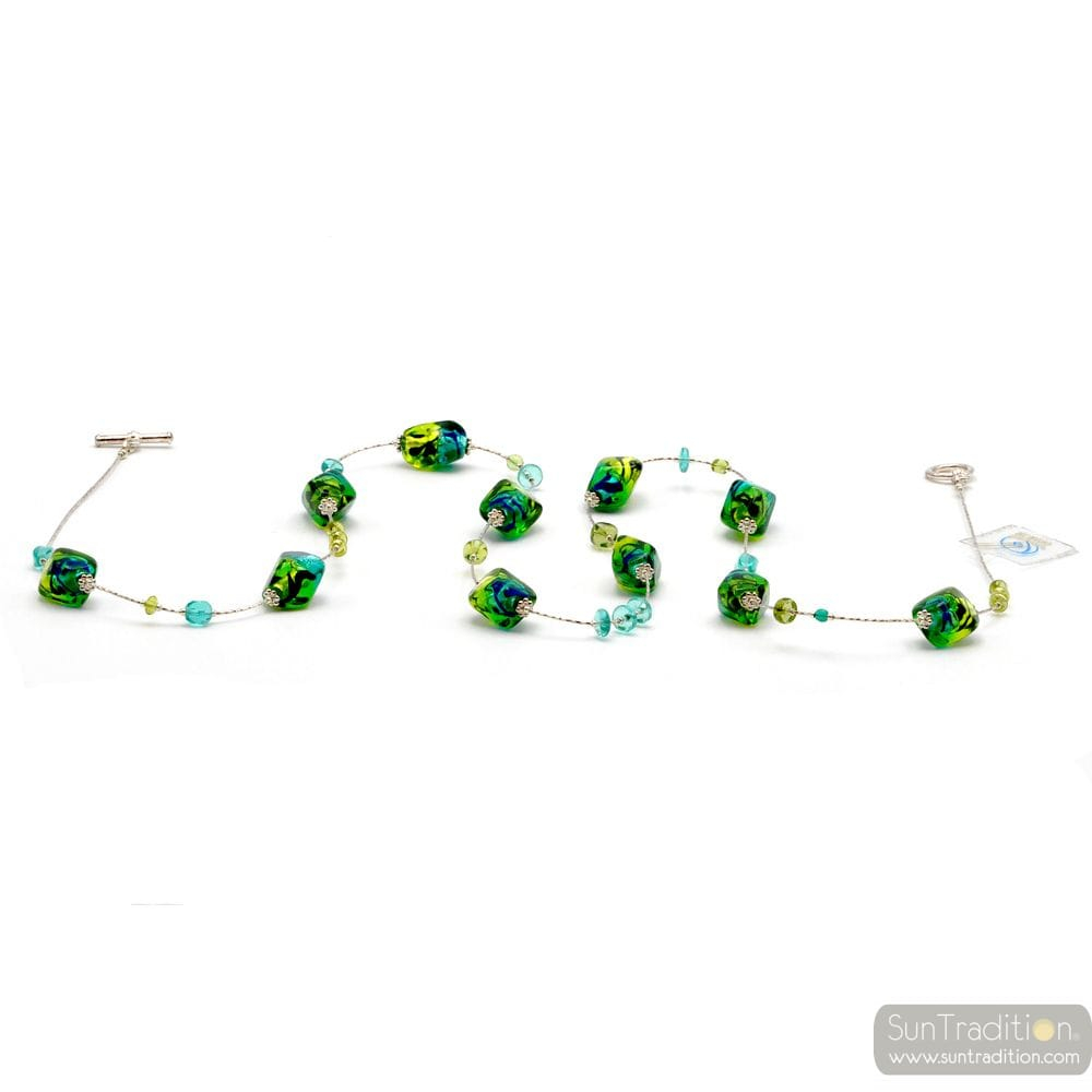 SASSO TWO-TONE GREEN - COLLAR-LONG MURANO GLASS GREEN AND BLUE