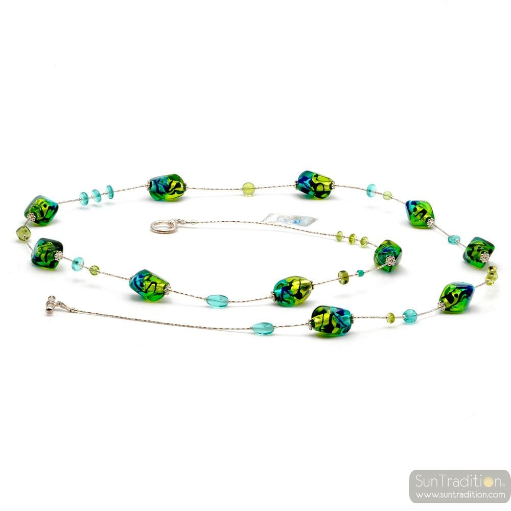BLUE AND GREEN LONG MURANO GLASS NECKLACE