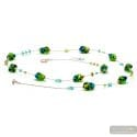 Sasso bicolore long - Long green and blue Murano glass collar real venitian jewel of Italy