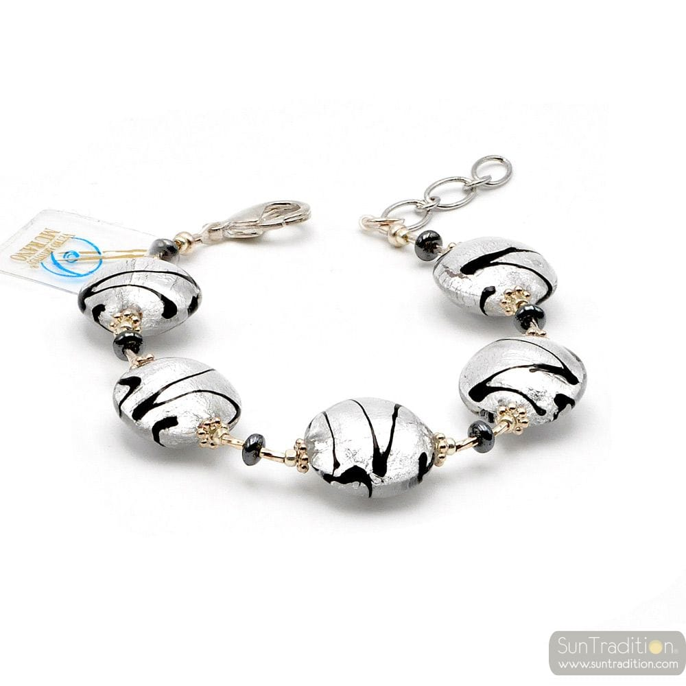 CHARLY SILVER - SILVER MURANO GLASS BRACELET FROM VENICE