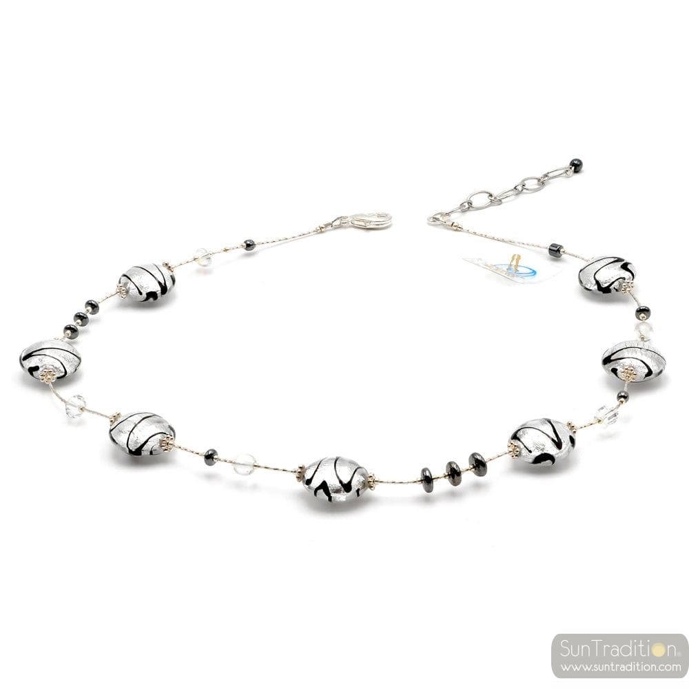 CHARLY SILVER - SILVER MURANO GLASS NECKLACE GENUINE MURANO GLASS OF VENICE
