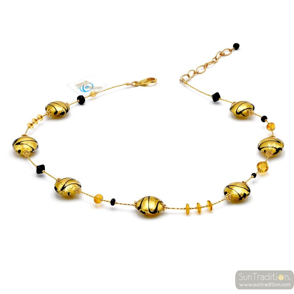 CHARLY GOLD - GOLD MURANO GLASS NECKLACE GENUINE MURANO GLASS OF VENICE
