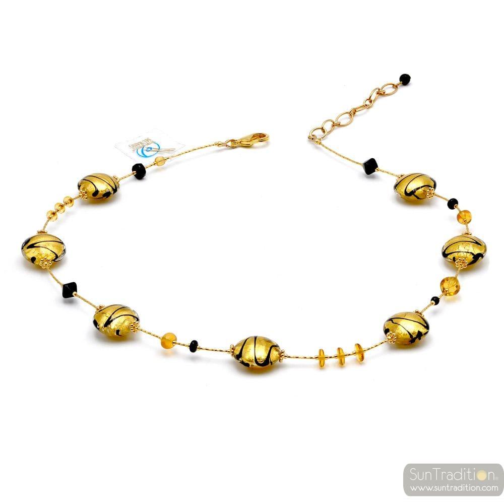 CHARLY GOLD - HALSKETTE GOLD AUS ECHTEM MURANO GLAS AUS VENEDIG