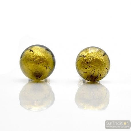 GOLDEN DARL GREEN CRYSTAL EARRINGS ROUND BUTTON NAIL GENUINE MURANO GLASS OF VENICE