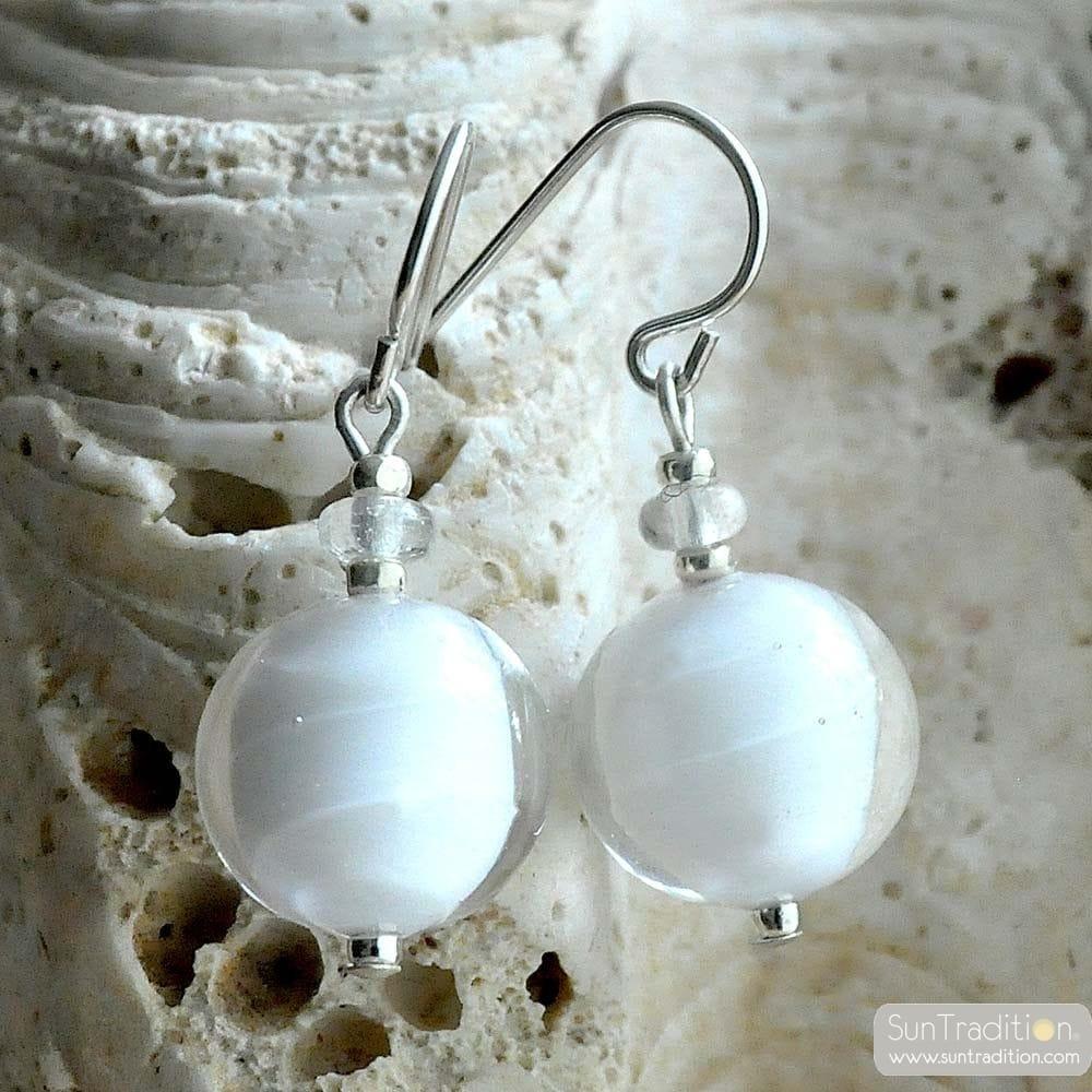 WHITE BALL EARRINGS GENUINE VENICE MURANO GLASS