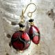 PASTIGLIA AVENTURINA - RED EARRINGS GENUINE VENICE MURANO GLASS