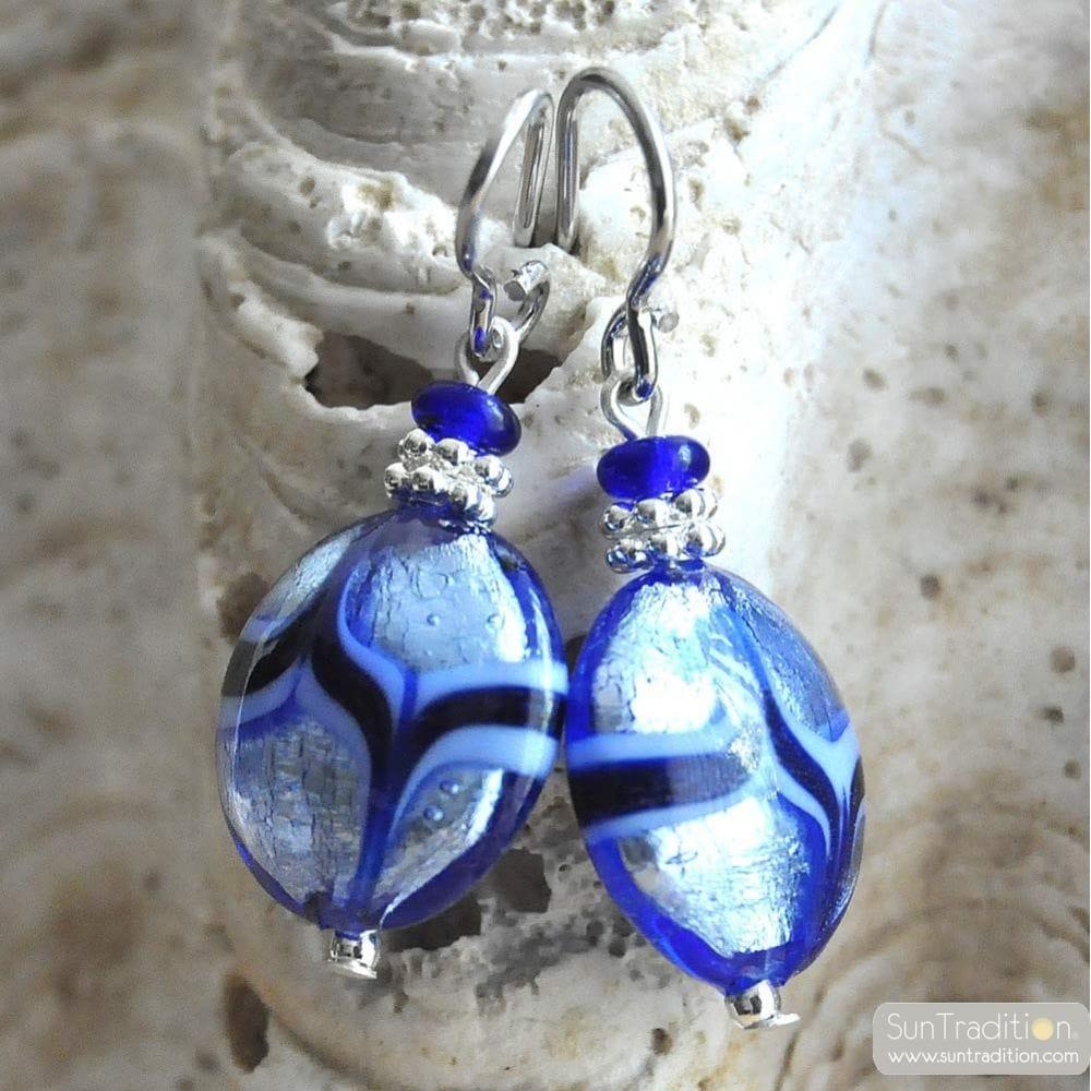 PASTIGLIA AVENTURINA BLUE - BLUE MURANO GLASS EARRINGS GENUINE VENICE GLASS