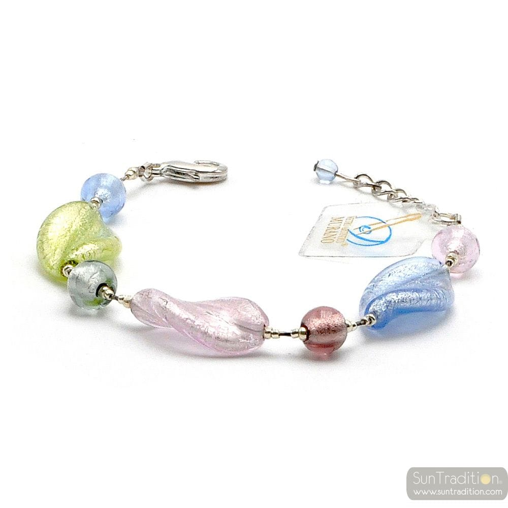 Chlorophylle silver - Real multicolor Murano glass bracelet Venice