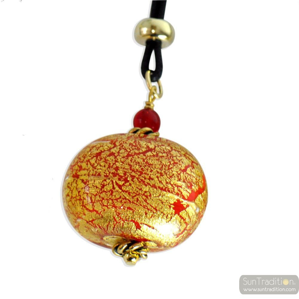 RED MURANO GLASS NECKLACE PENDANT ONION MURANO GLASS VENICE