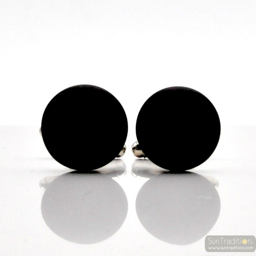 ROUND BLACK SATIN GLASS CUFFLINKS IN REAL MURANO GLASS VENICE