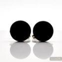 ROUND BLACK SATIN - BLACK MURANO GLASS CUFFLINKS IN REAL VENITIAN GLASS