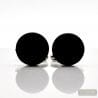 ROUND BLACK SATIN GLASS CUFFLINKS IN REAL MURANO GLASS VENICE