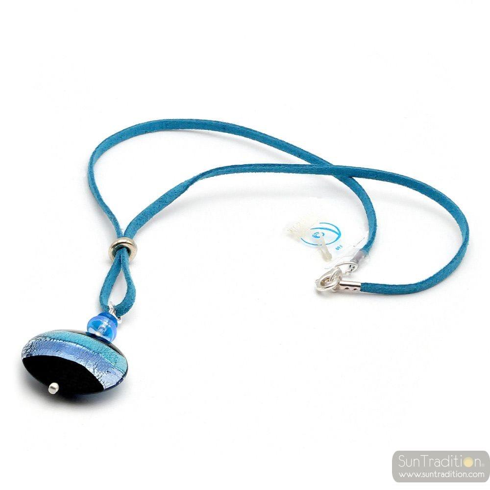 PENDANT GRAY BLUE MURANO GLASS VENICE HORIZON