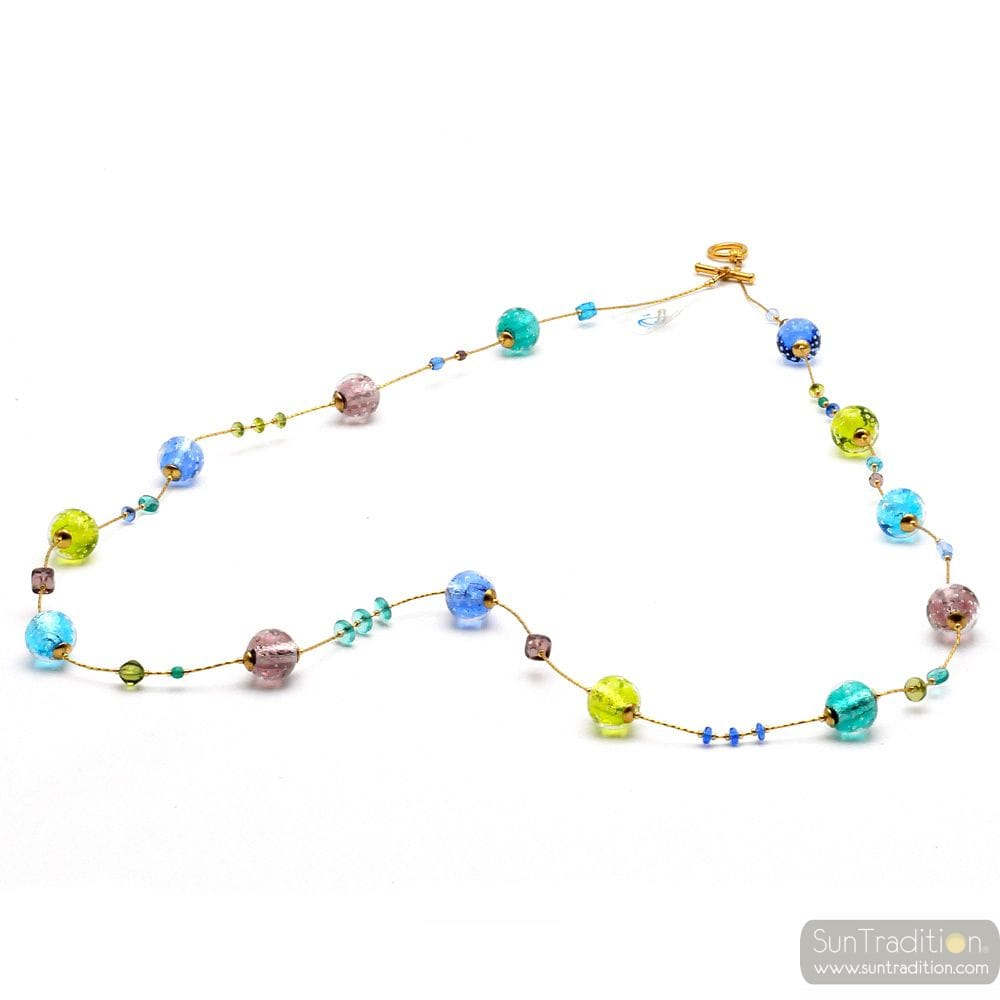 Fizzy blue long - Long blue round Murano glass necklace real italian jewellry Venice