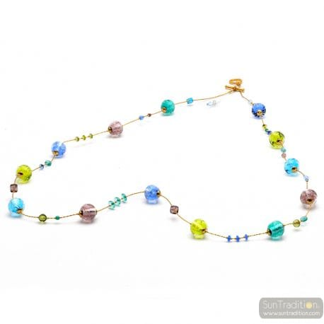 LONG BLUE MURANO GLASS NECKLACE
