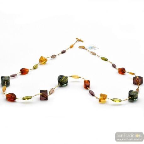 Lancette Multicolor - Multicolor and gold Murano glass collar genuine jewel from Venice Italy