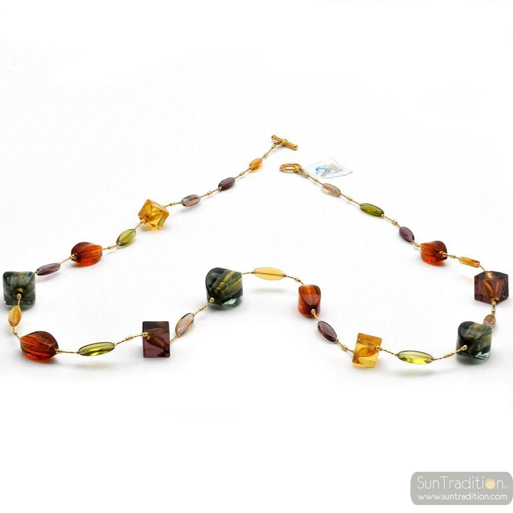 NECKLACE AMBER GENUINE MURANO GLASS OF VENICE