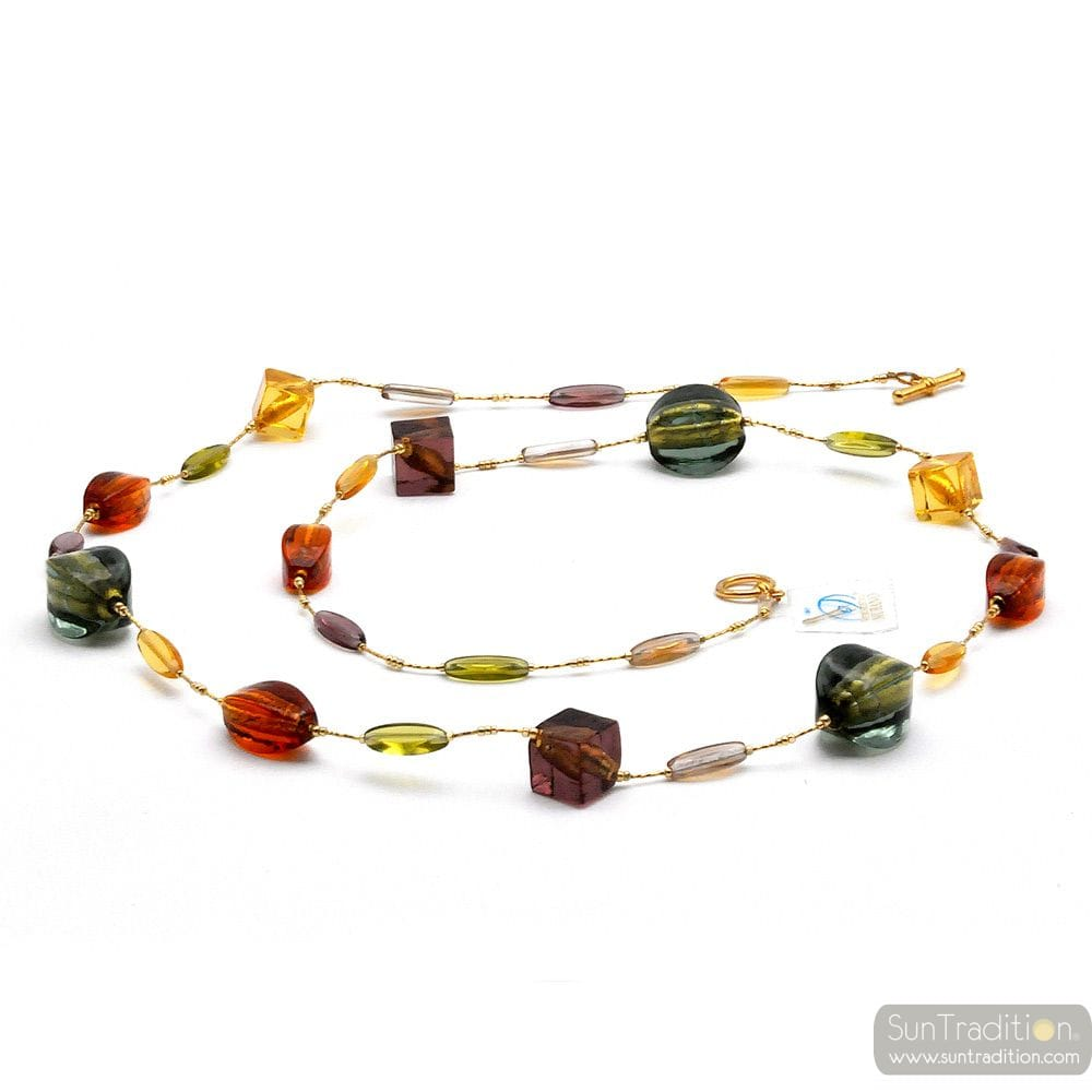 ONG AMBER MURANO GLASS NECKLACE