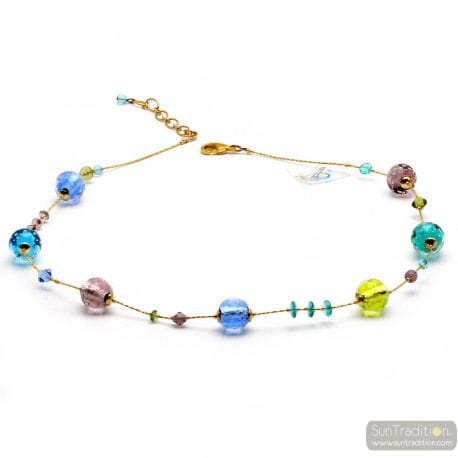 Fizzy blue - Blue multicolor round beads Murano glass necklace genuine jewel of Venice Italy