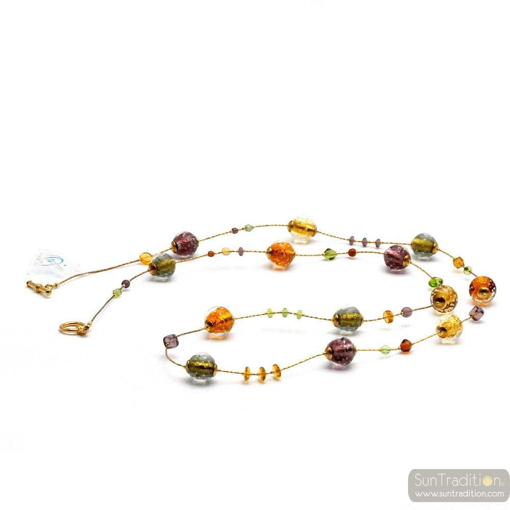 FIZZY AMBER - NECKLACE LONG AMBER GENUINE MURANO GLASS
