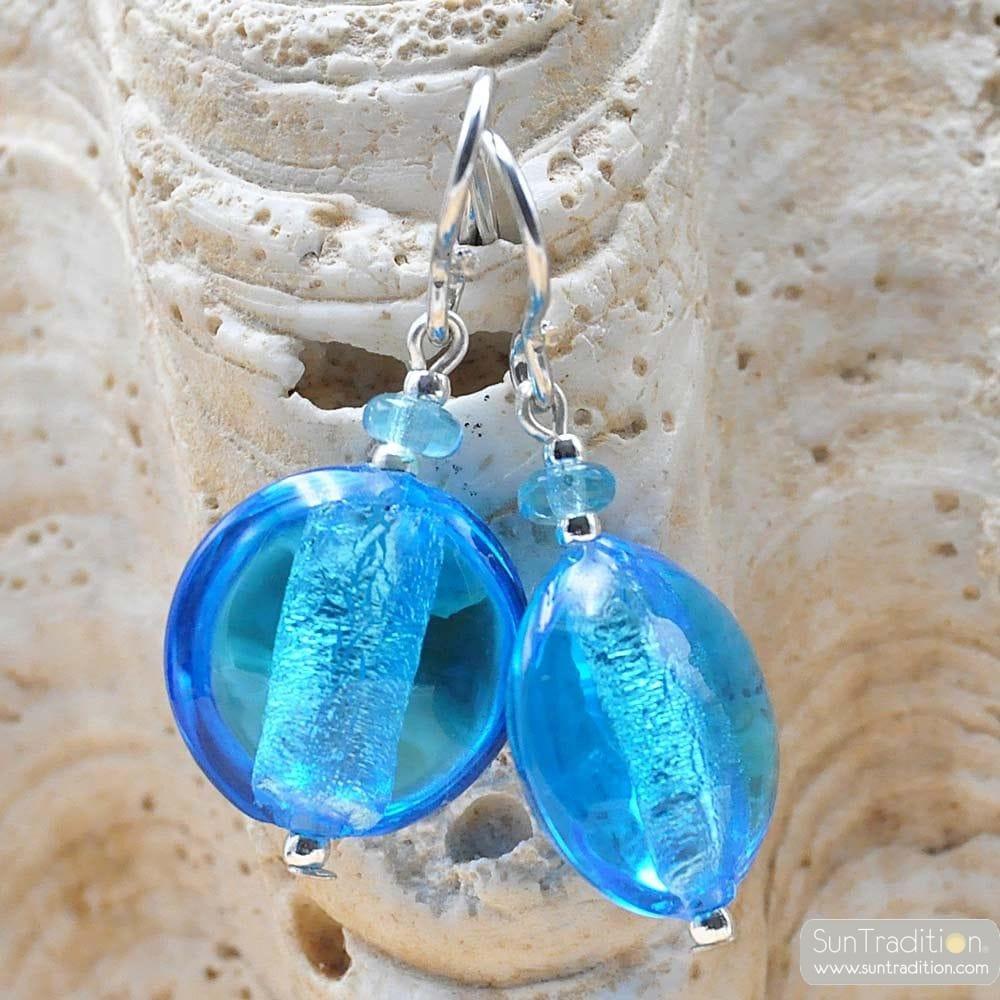 PASTIGLIA ACID PICCOLI BLUE - BLUE MURANO GLASS EARRINGS MURANO GLASS