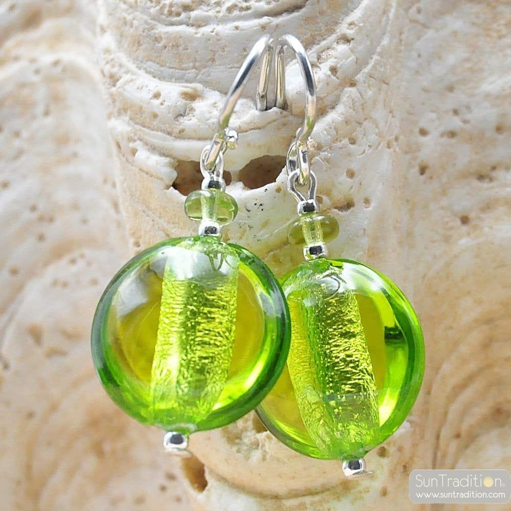 OHRRINGE APFEL GRÜN MURANO-GLAS