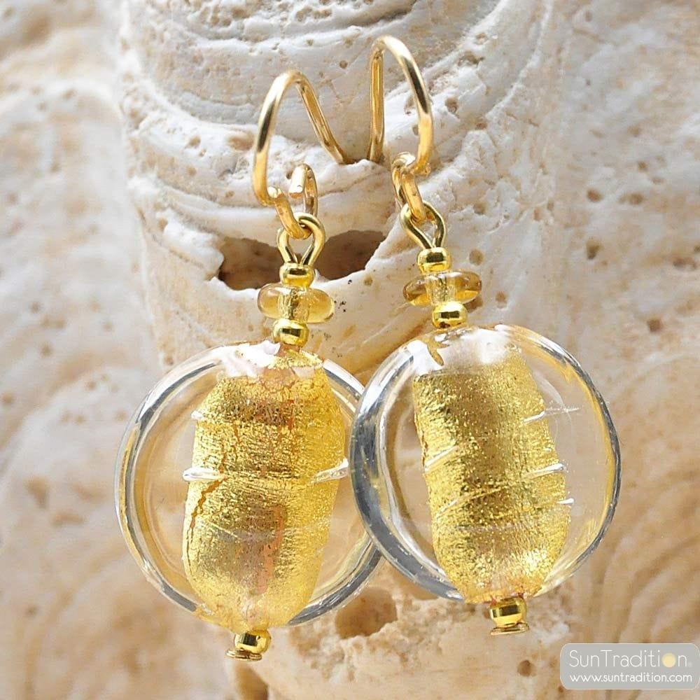 PASTIGLIA ACID PICCOLI GOLD - TRANSPARENT GOLD MURANO GLASS EARRINGS
