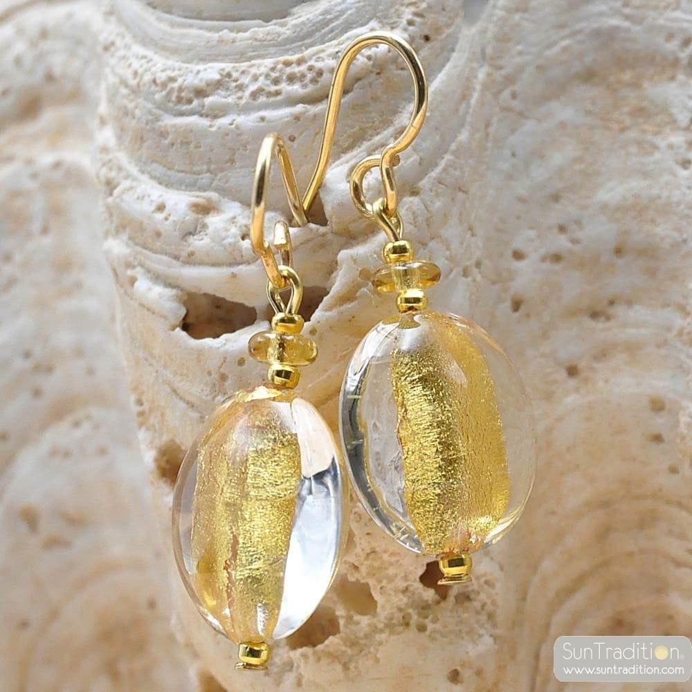 PASTIGLIA ACID PICCOLI - earrings TRANPARENTES GOLD MURANO GLASS