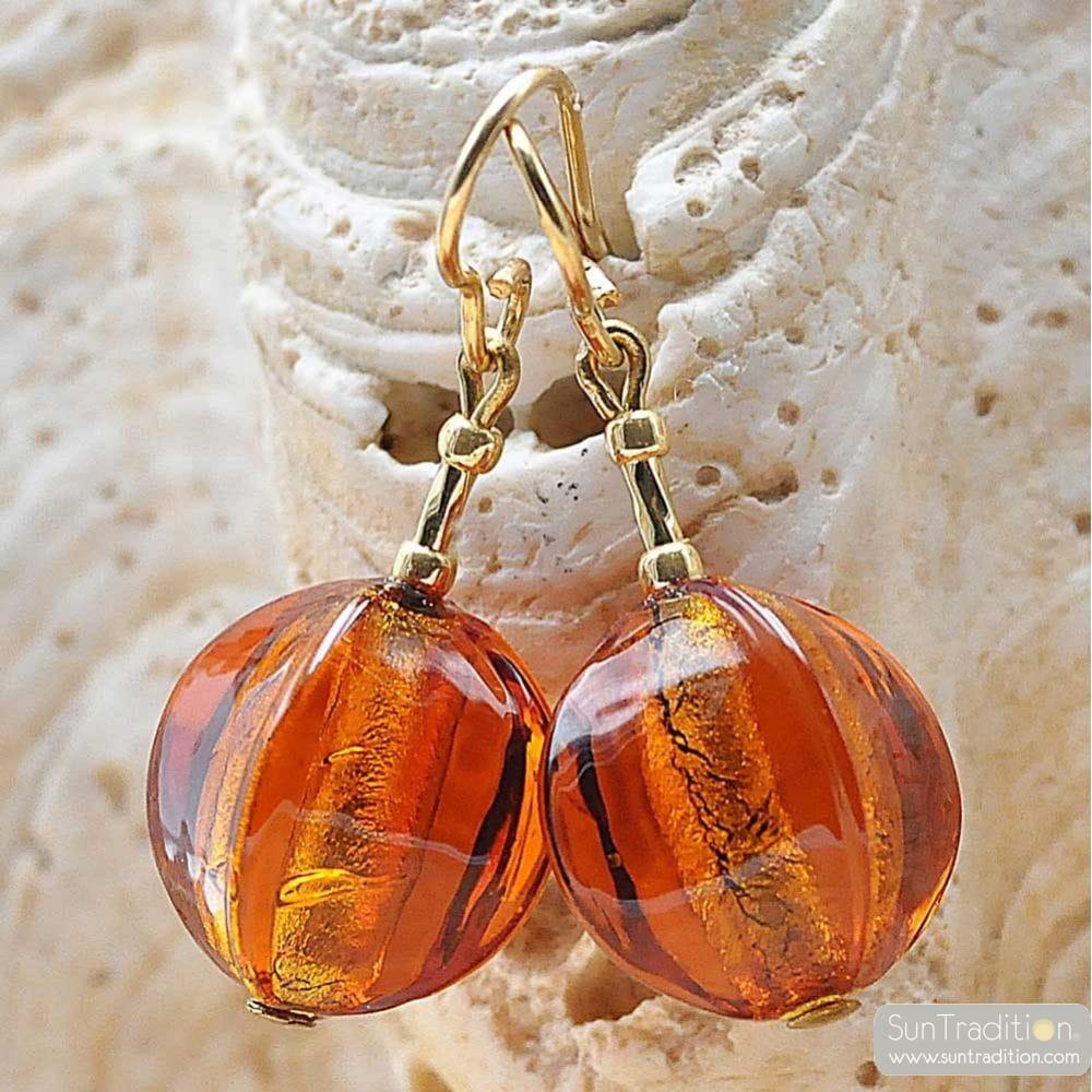 LANCET OLIVA SQUADRATA AMBER - AMBER MURANO GLASS EARRINGS