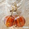 LANCET OLIVA SQUADRATA AMBER - AMBER MURANO GLASS EARRINGS